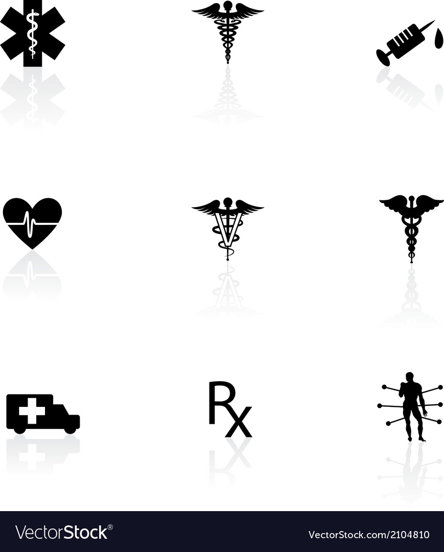 Medical icons black on white with reflections vector