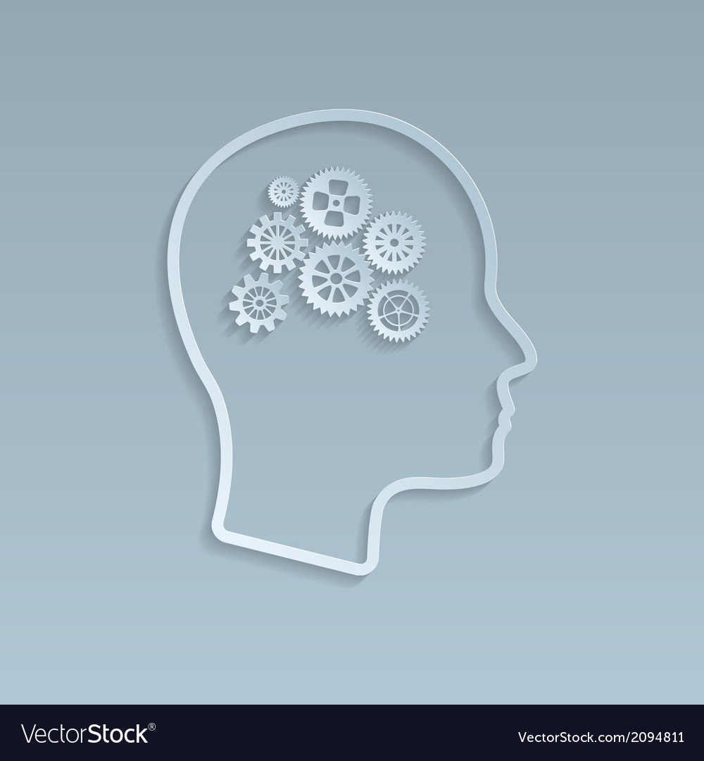 Gears on brain vector