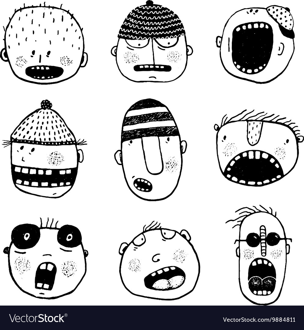 Hand drawn doodle outline cartoon people faces set vector