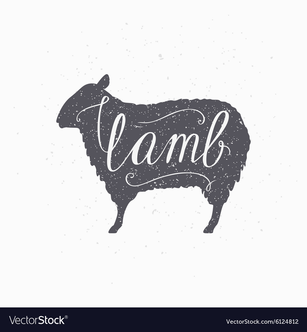 Hipster style sheep silhouette lamb meat hand vector
