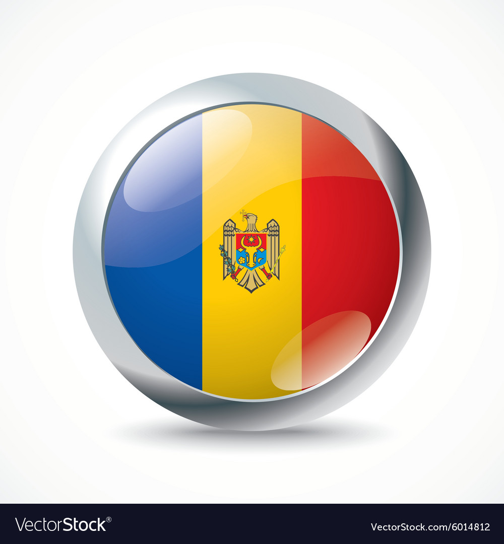 Moldova flag button vector