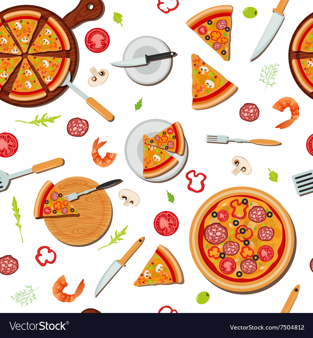 Pizza seamless pattern with ingredients vector