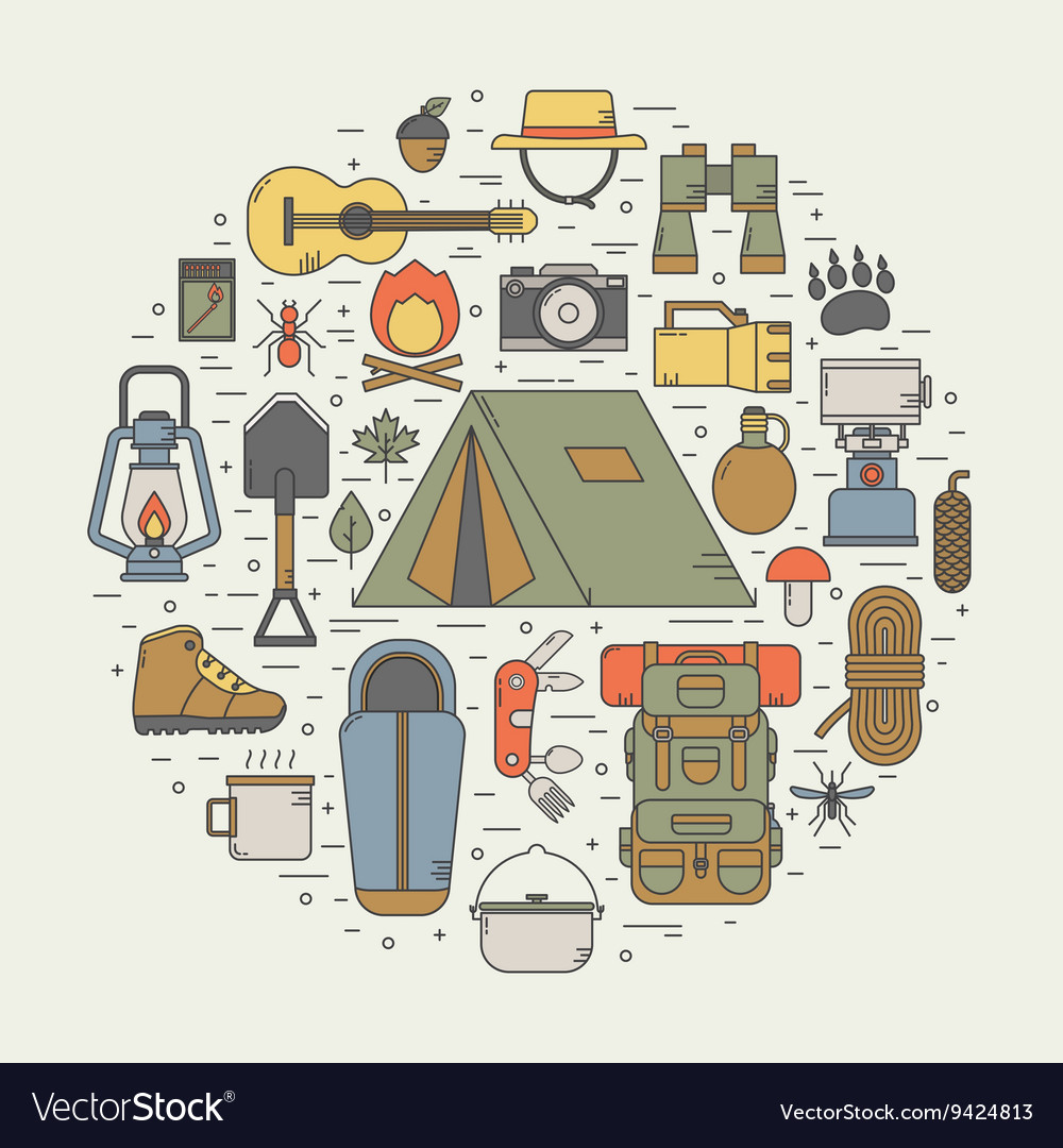 Camping line art icons vector