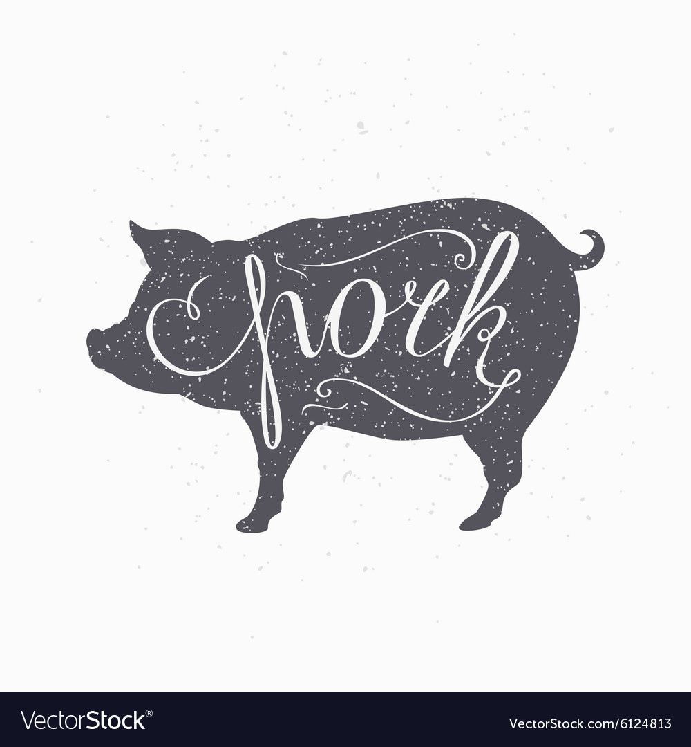 Hipster style pig silhouette pork meat hand vector