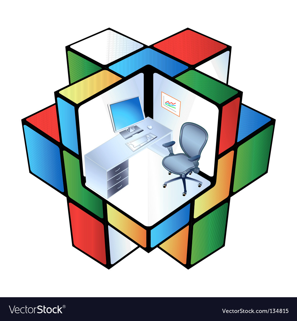 Rubik office cubicle vector