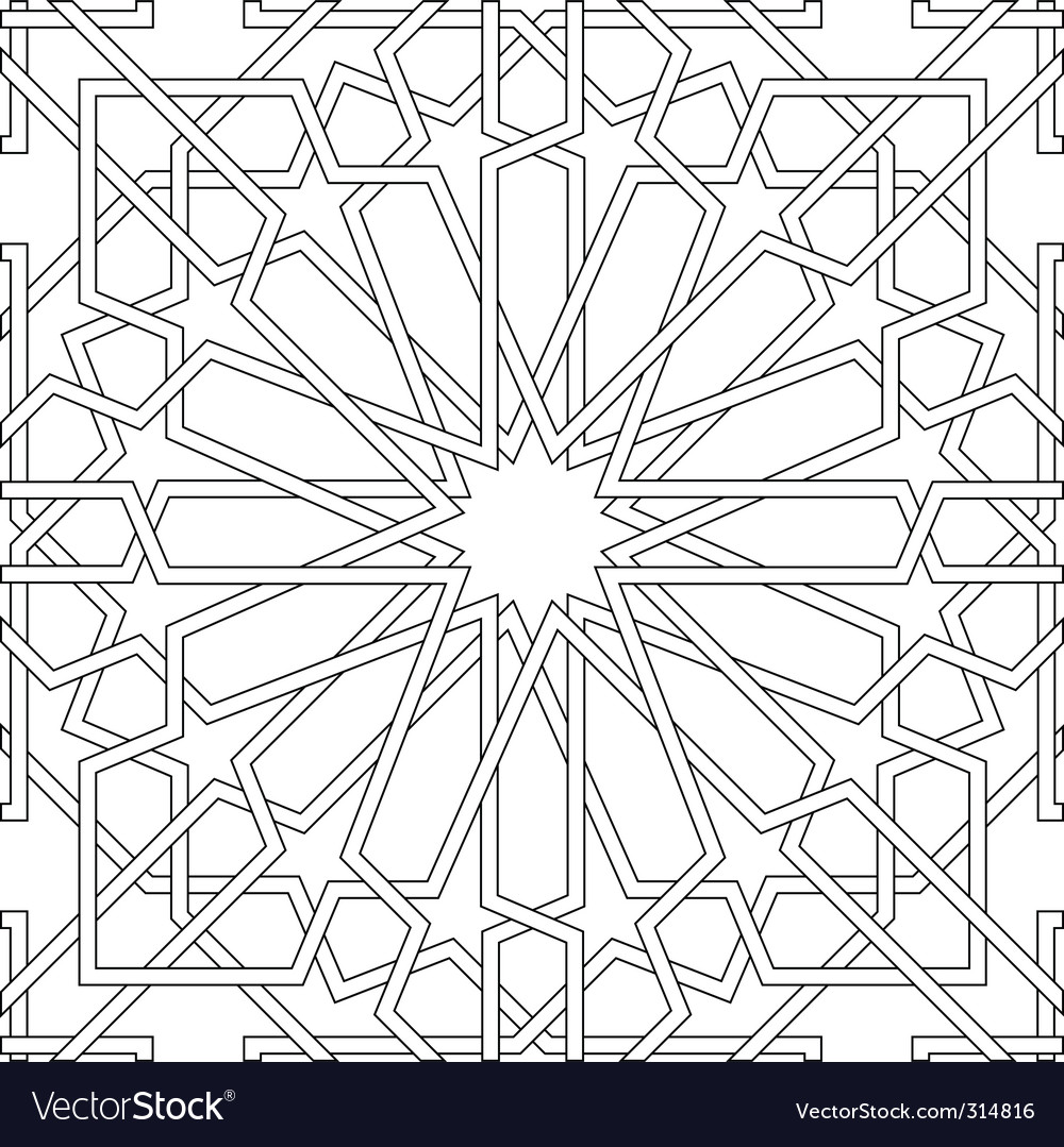 Arabic motif in black and white vector