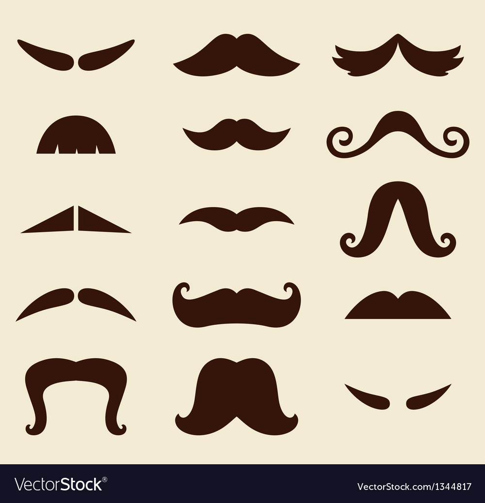 Stylish retro mustaches big collection vector