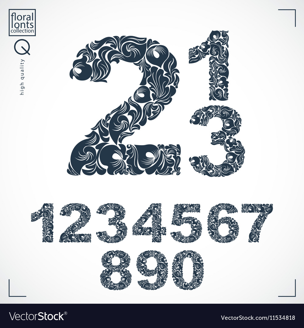 Floral numerals handdrawn numbers decorated with vector