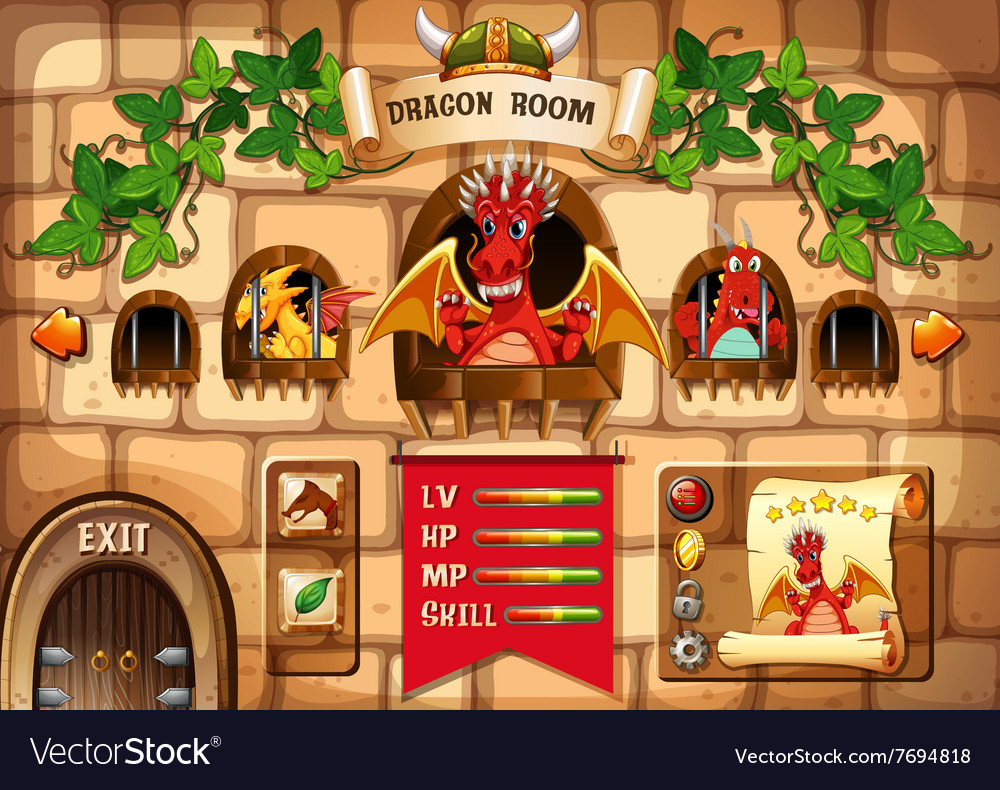 Game template with dragon and castle background vector