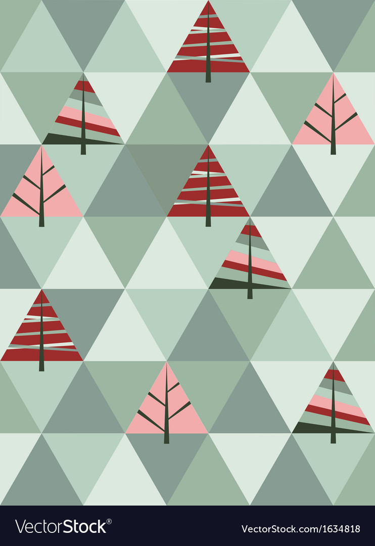 Retro pattern of geometric shapes with trees vector
