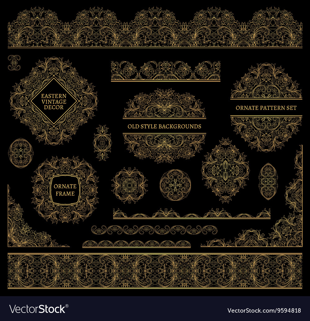 Set of line art frames and borders for design vector