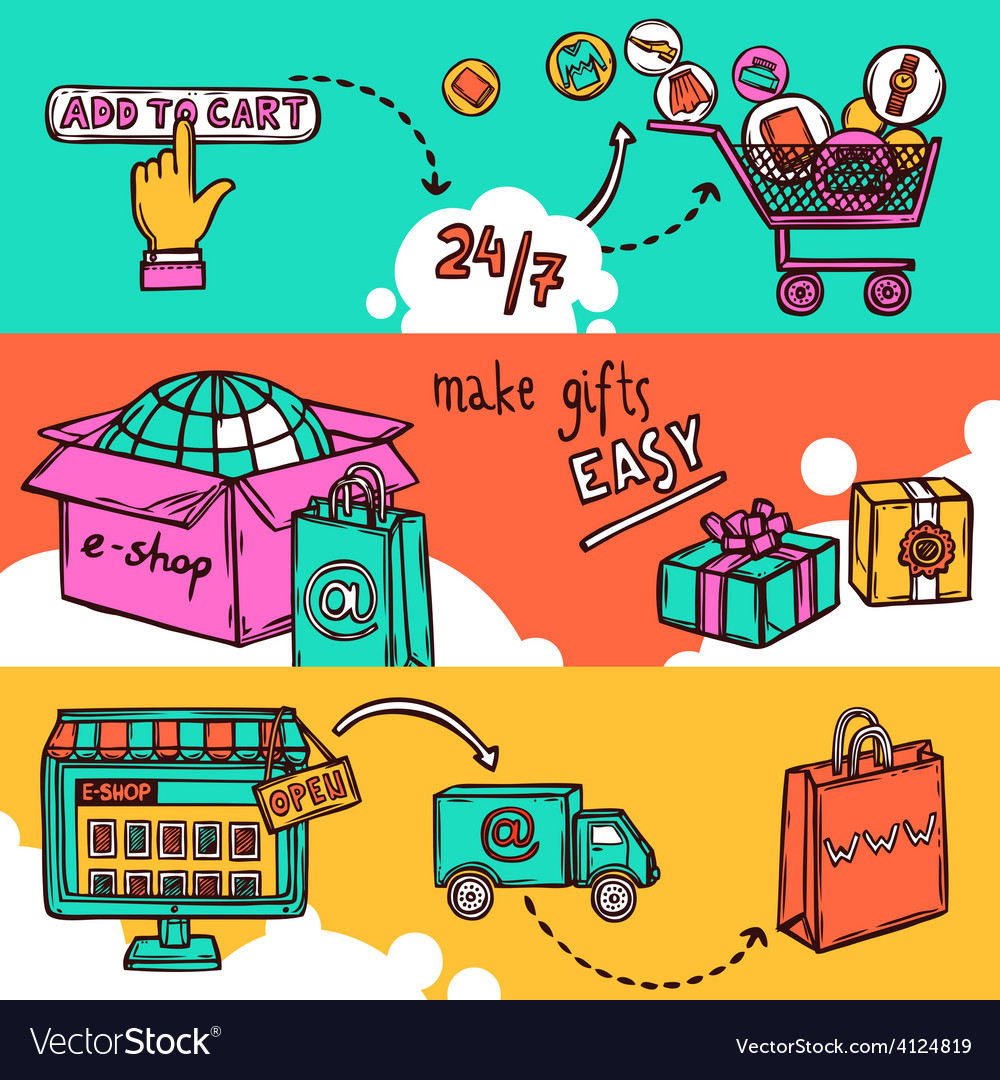 Ecommerce banner set vector