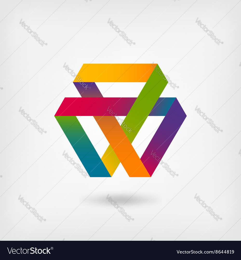 Mobius strip multicolor symbol vector