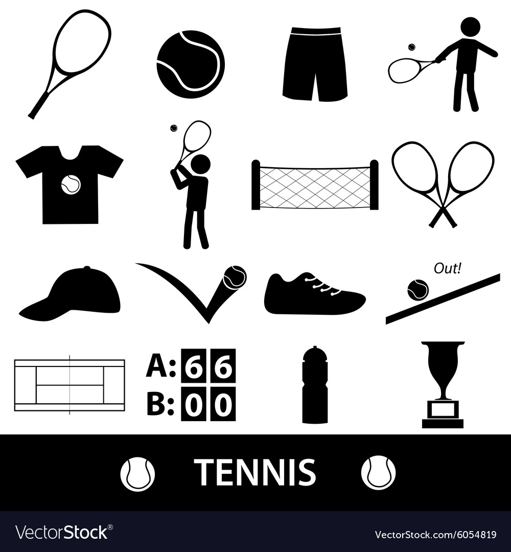 Tennis sport theme black icons set eps10 vector