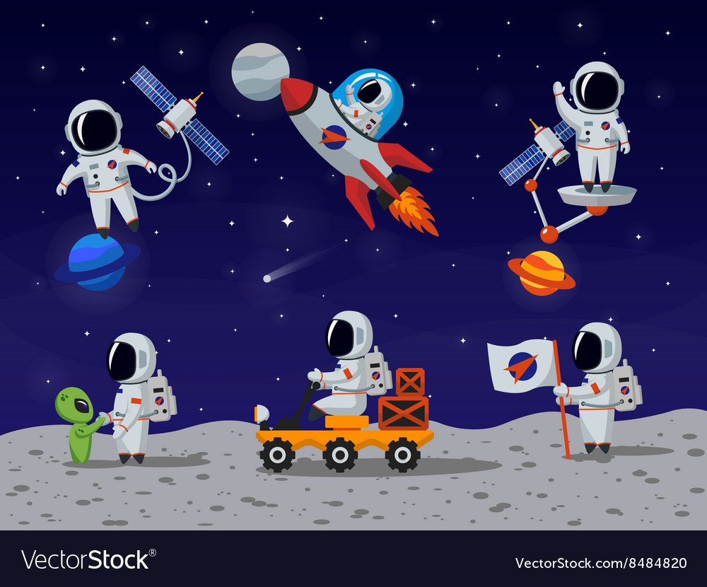 Astronauts characters set in flat cartoon vector