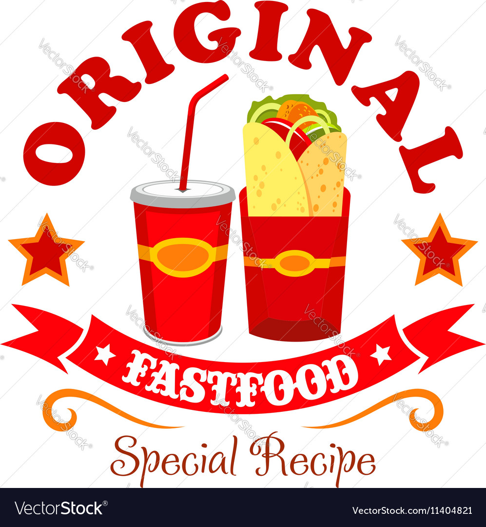 Burrito wrap fast food menu label emblem vector