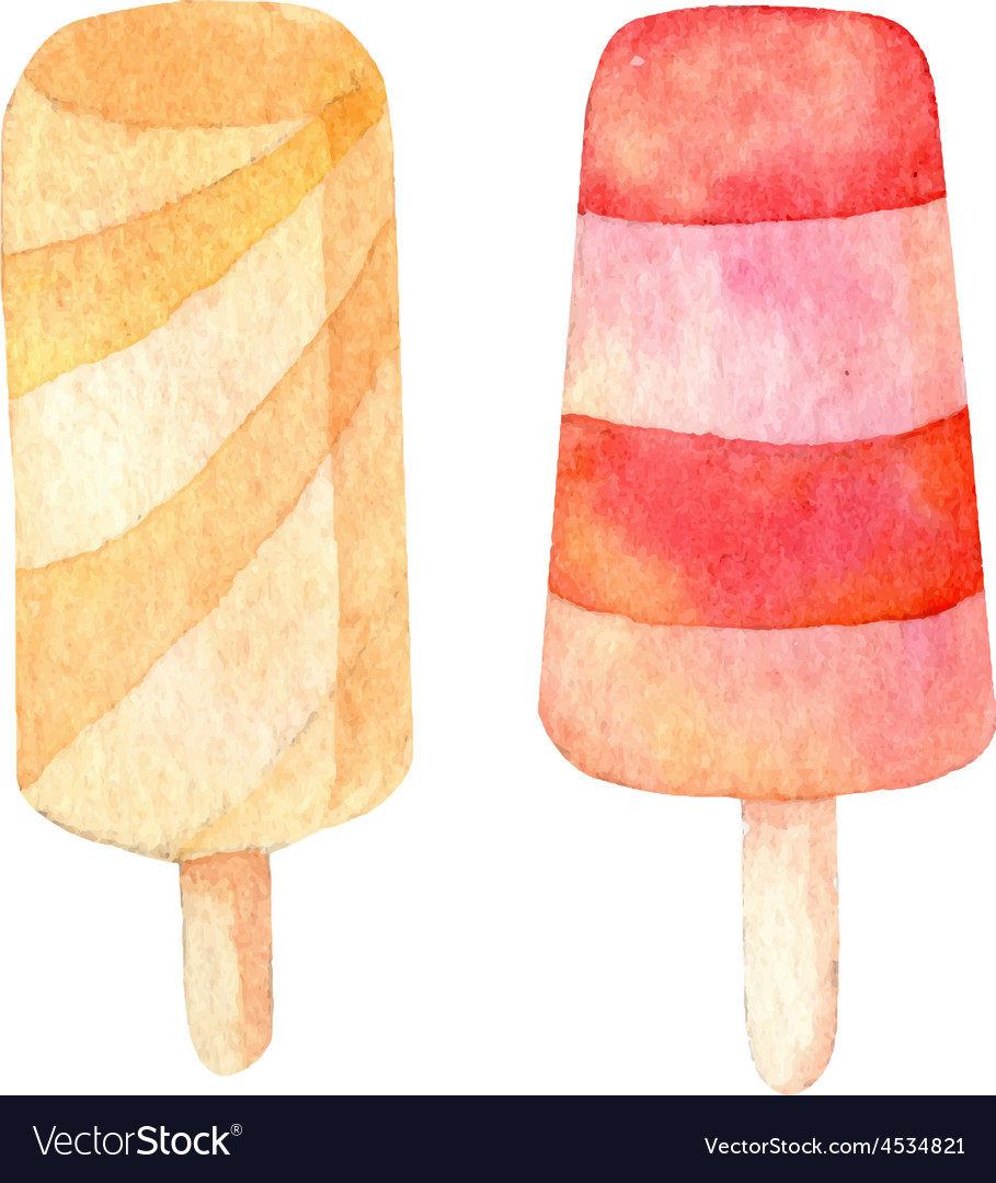 Ice cream handdrawn watercolor vector