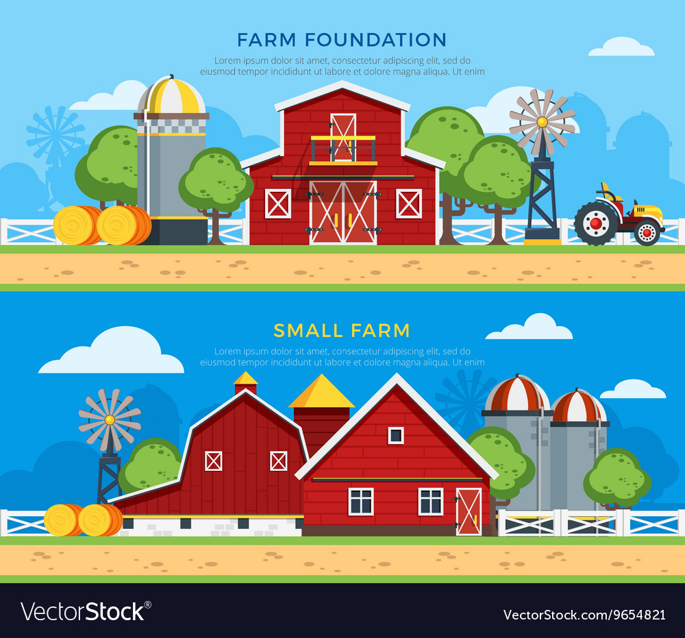 Two farm flat horizontal banners vector