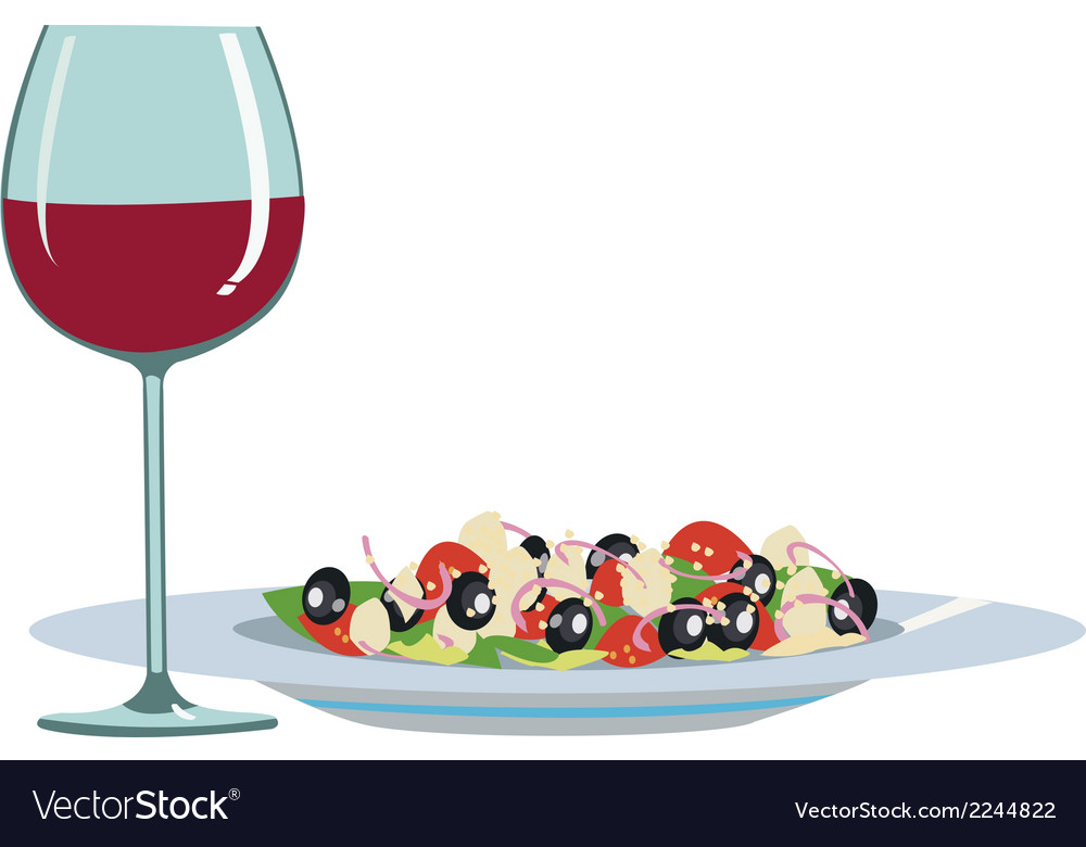 Light food and wine vector