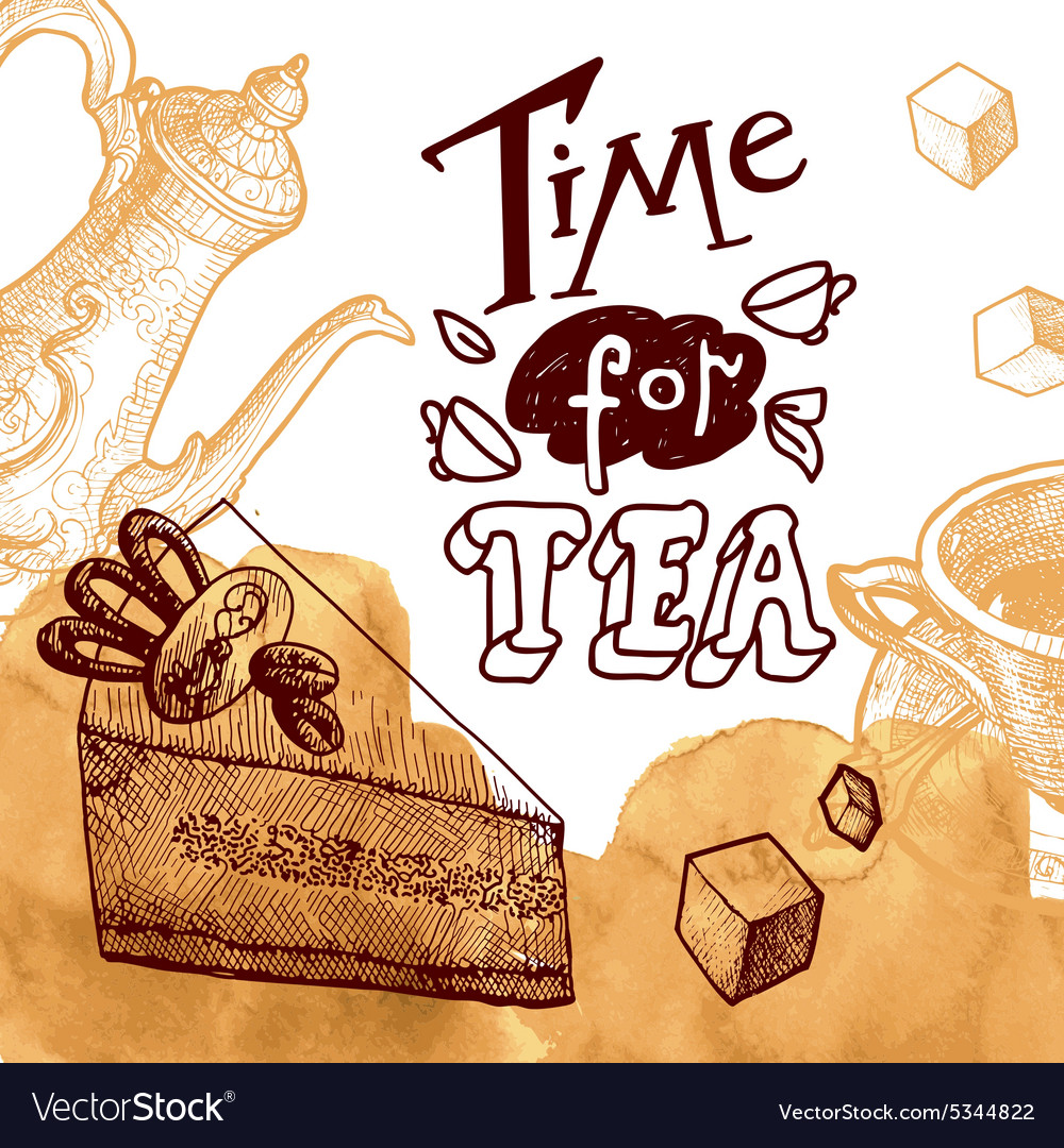 Time for tea background vector