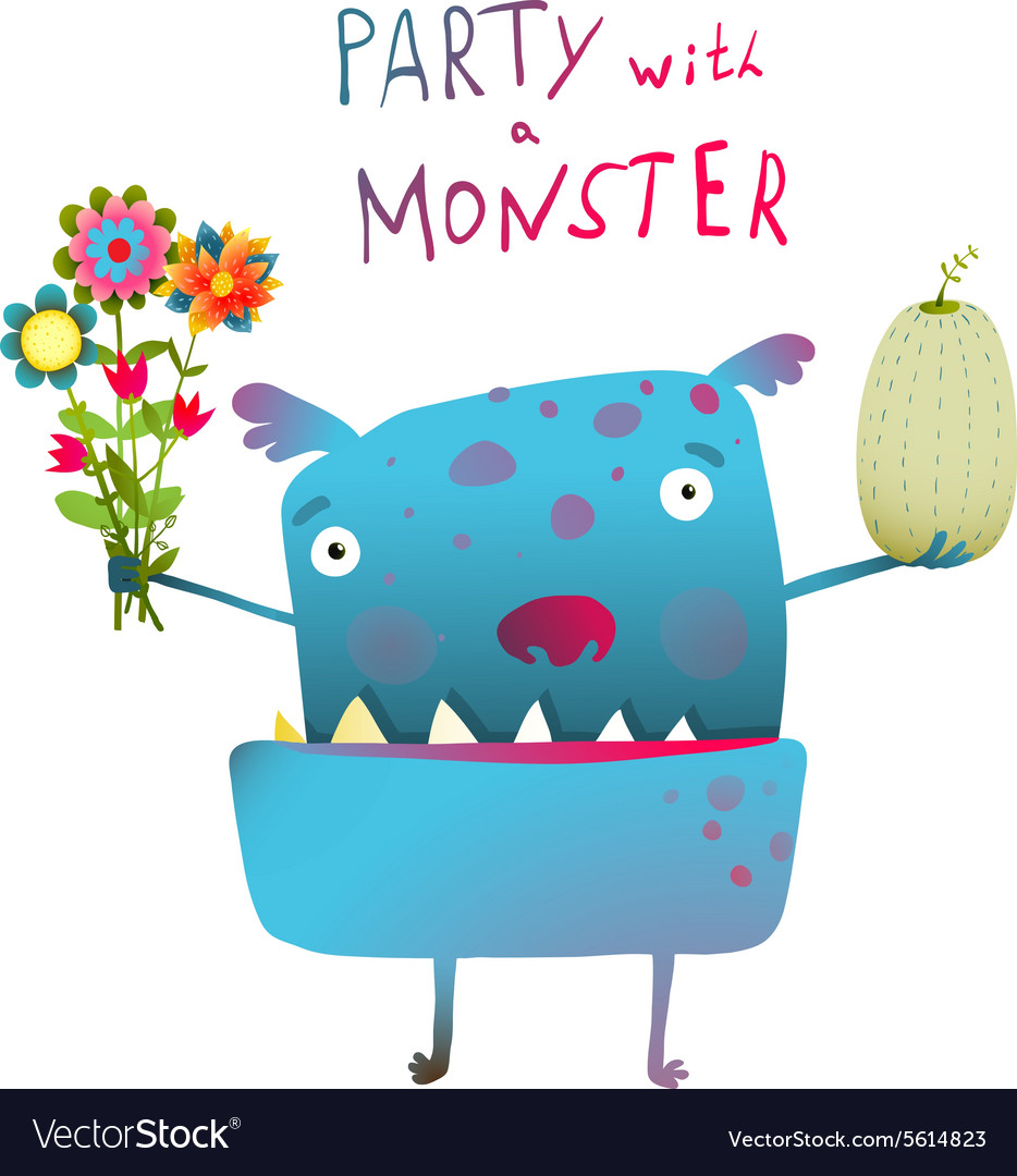 Cute and funny monster with bunch of flowers fruit vector