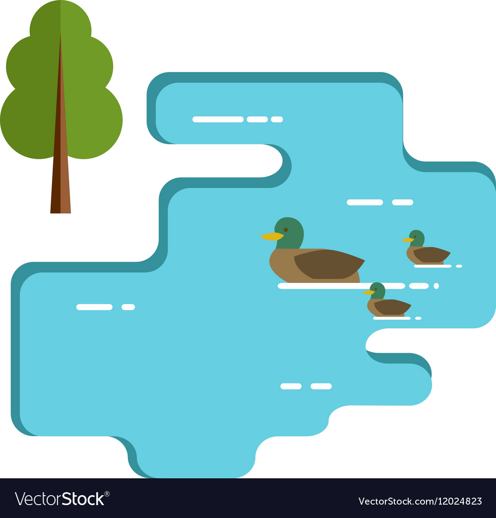 Ducks family swimming in the lake flat vector