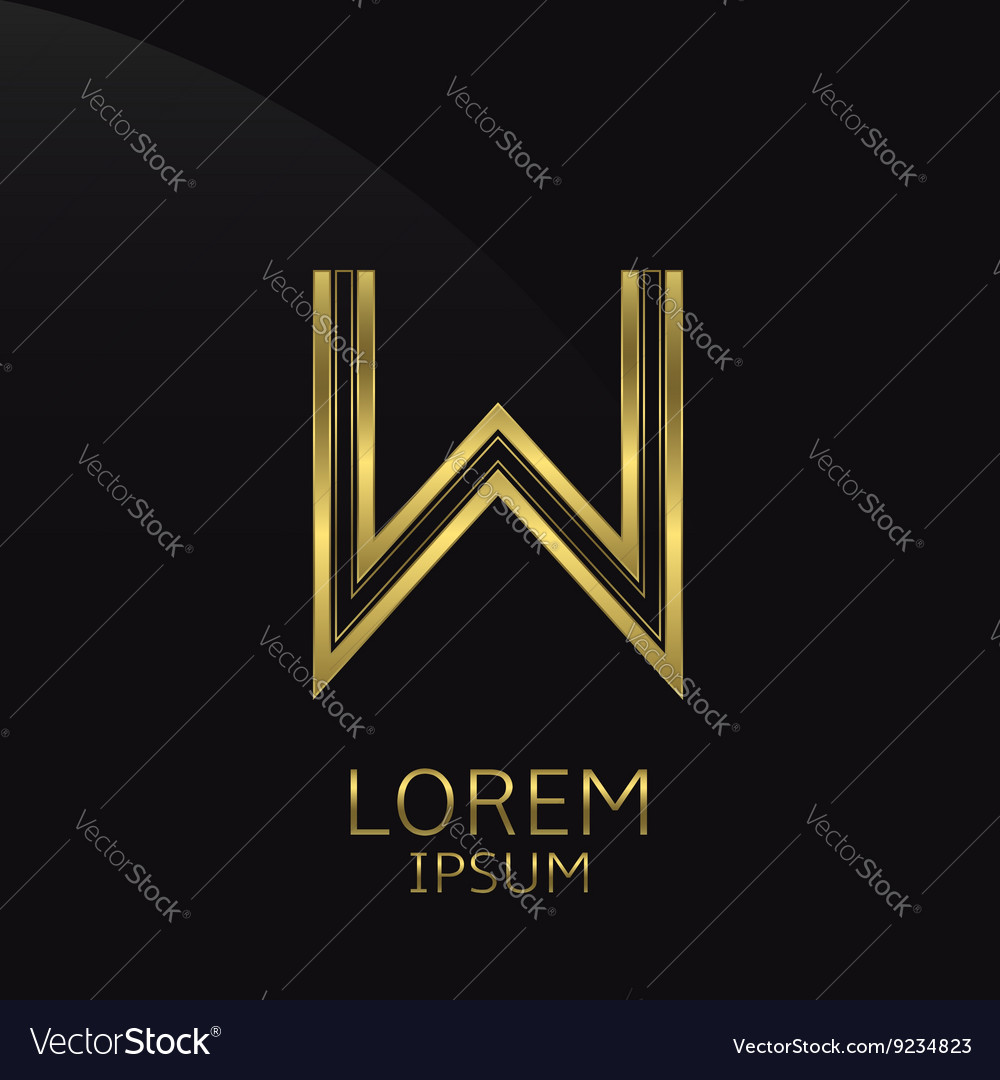 Golden w letter vector