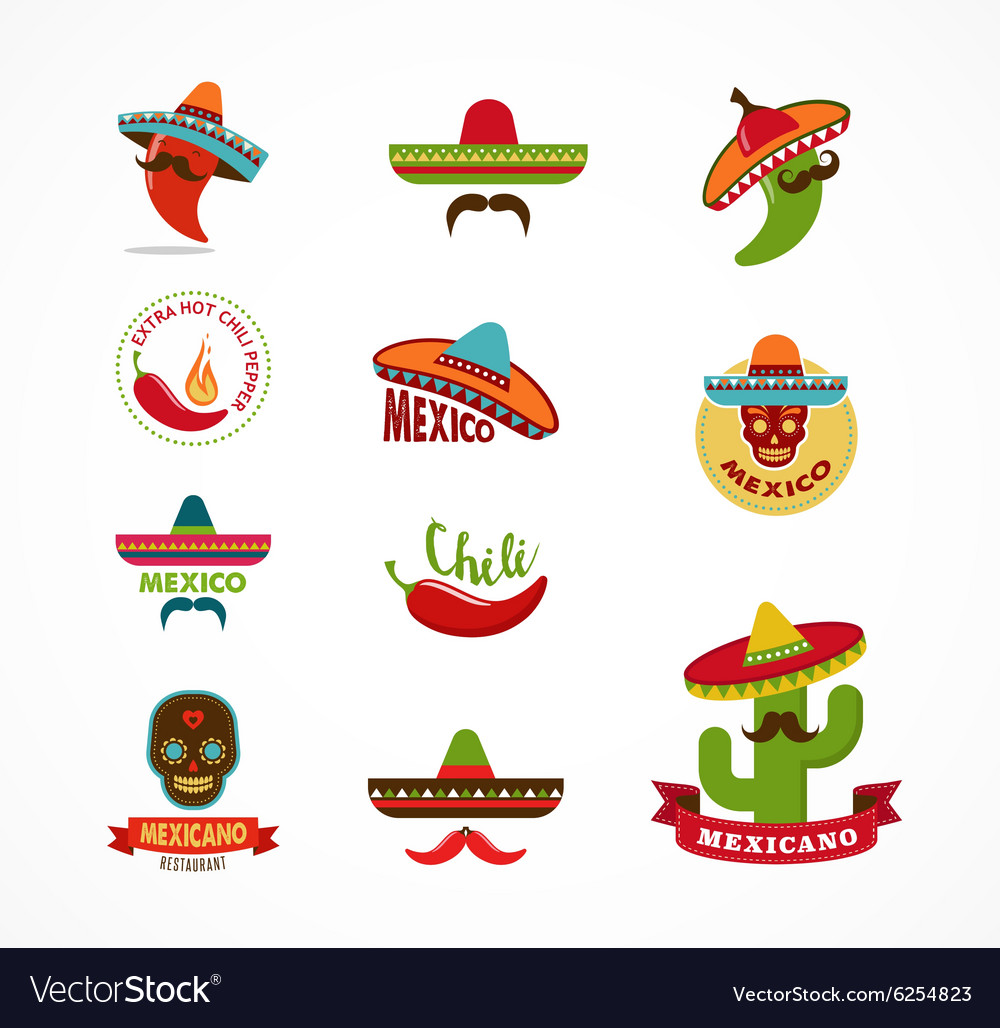 Mexican food icons menu elements for restaurant vector