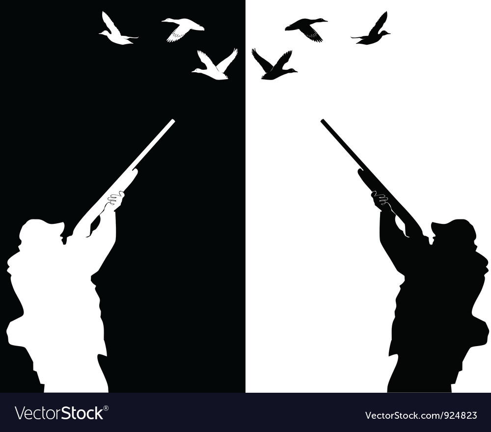 Silhouettes of ducks hunter vector