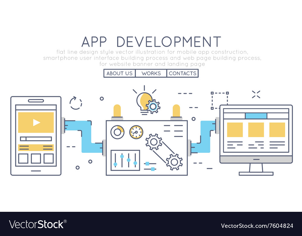 Mobile app construction smartphone vector