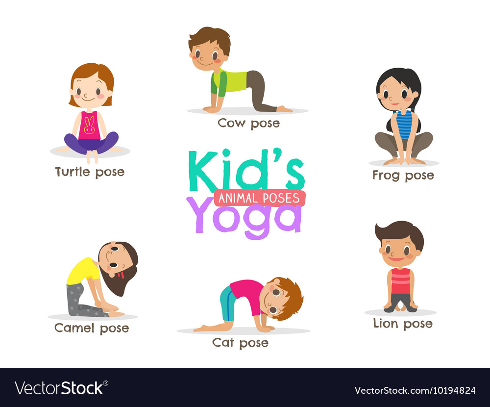 Yoga kids poses cartoon vector