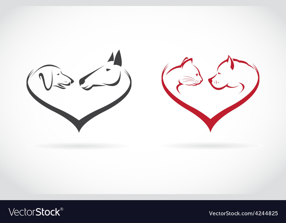 Image of animal on heart shape vector
