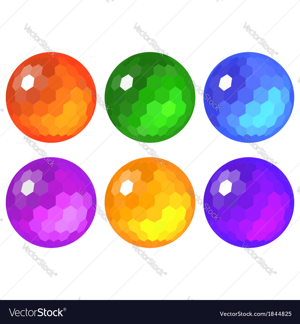 Set of faceted spheres vector
