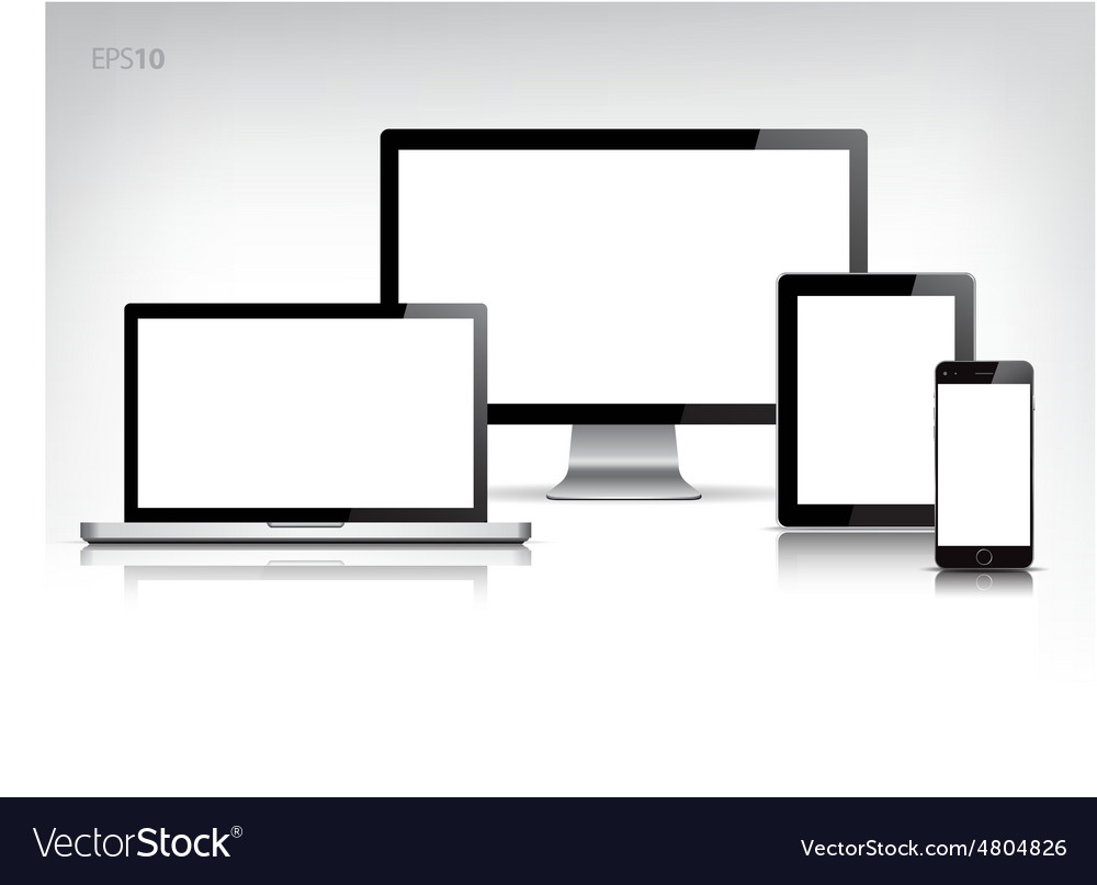 Set of mock up electronic devices vector