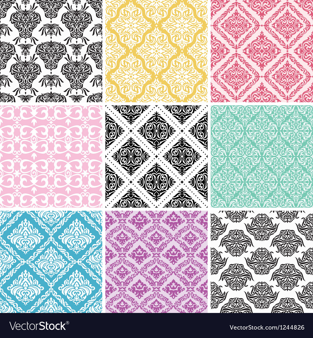 Set of seamless damask backgrounds vector