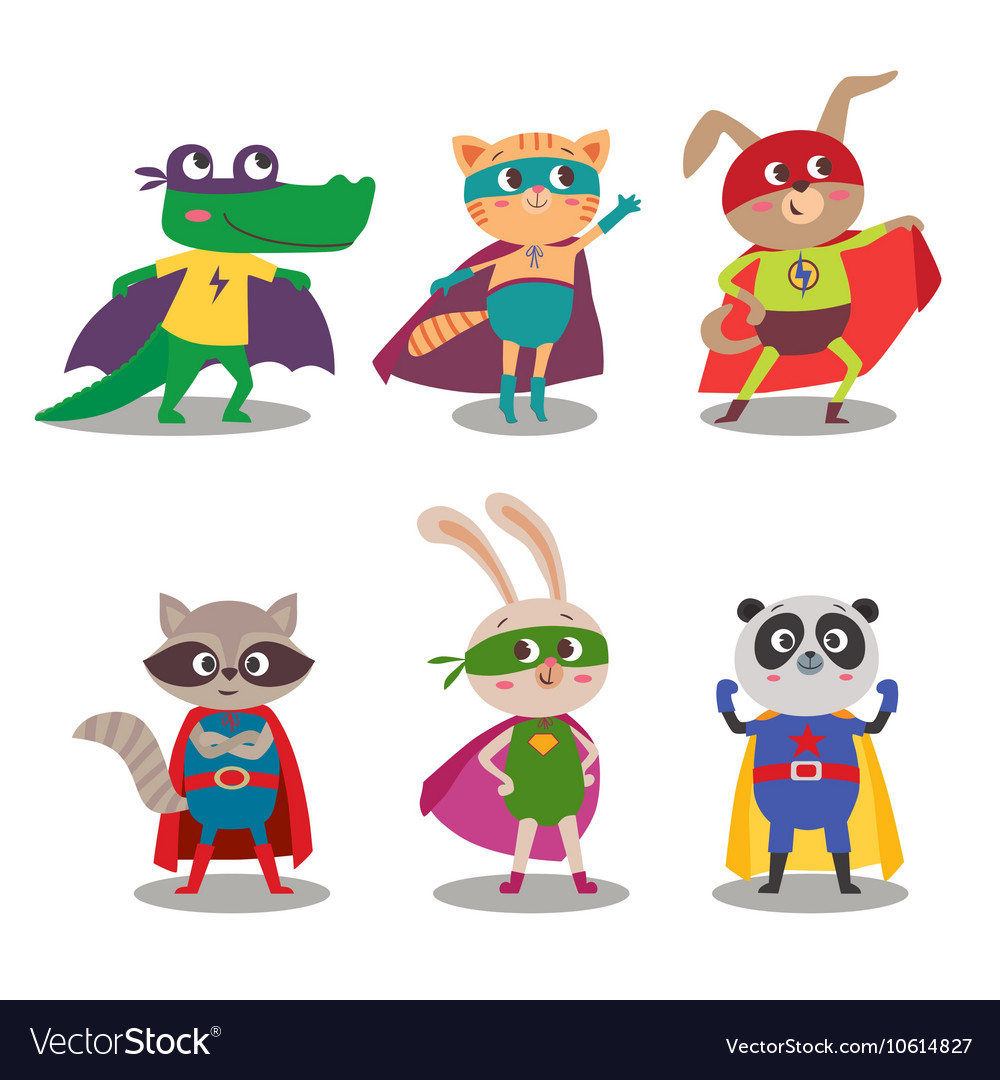 Superhero animal kids cartoon vector