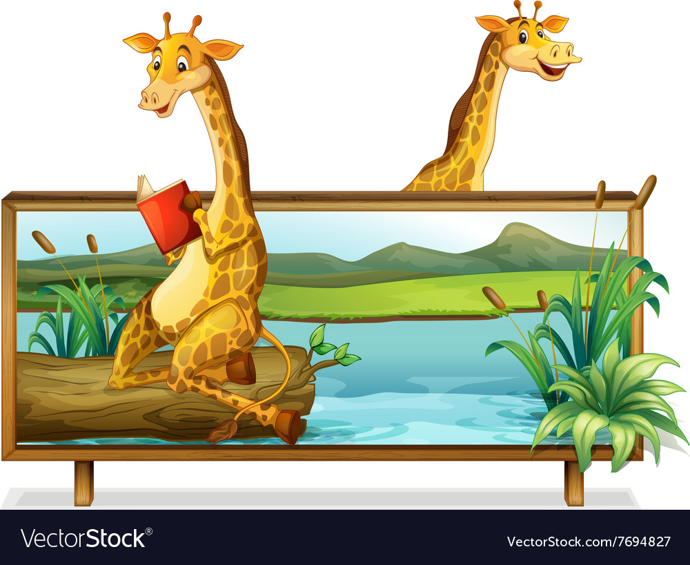 Two giraffe by the lake vector