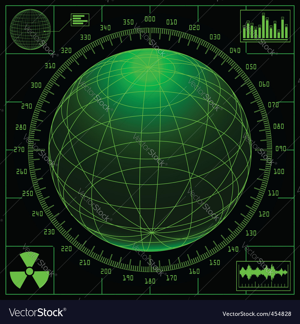 Radar screen with digital glob vector