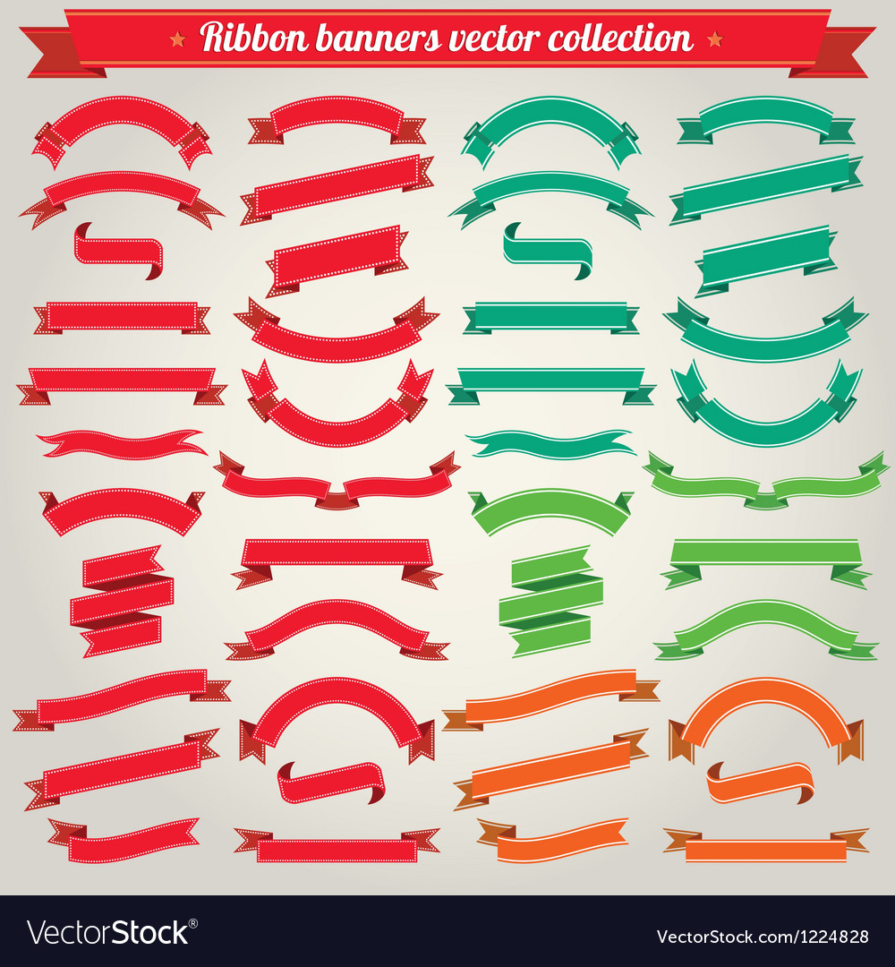 Ribbon banners collection vector
