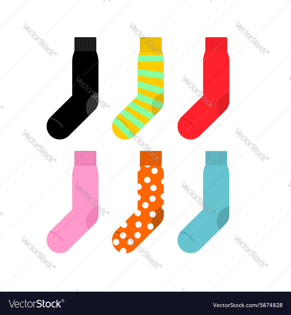 Set colorful socks accessories clothing vector