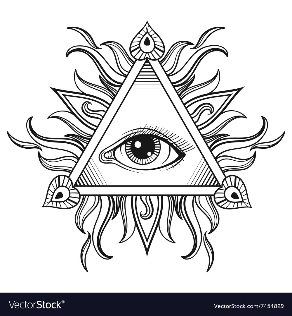 All seeing eye pyramid symbol in tattoo vector