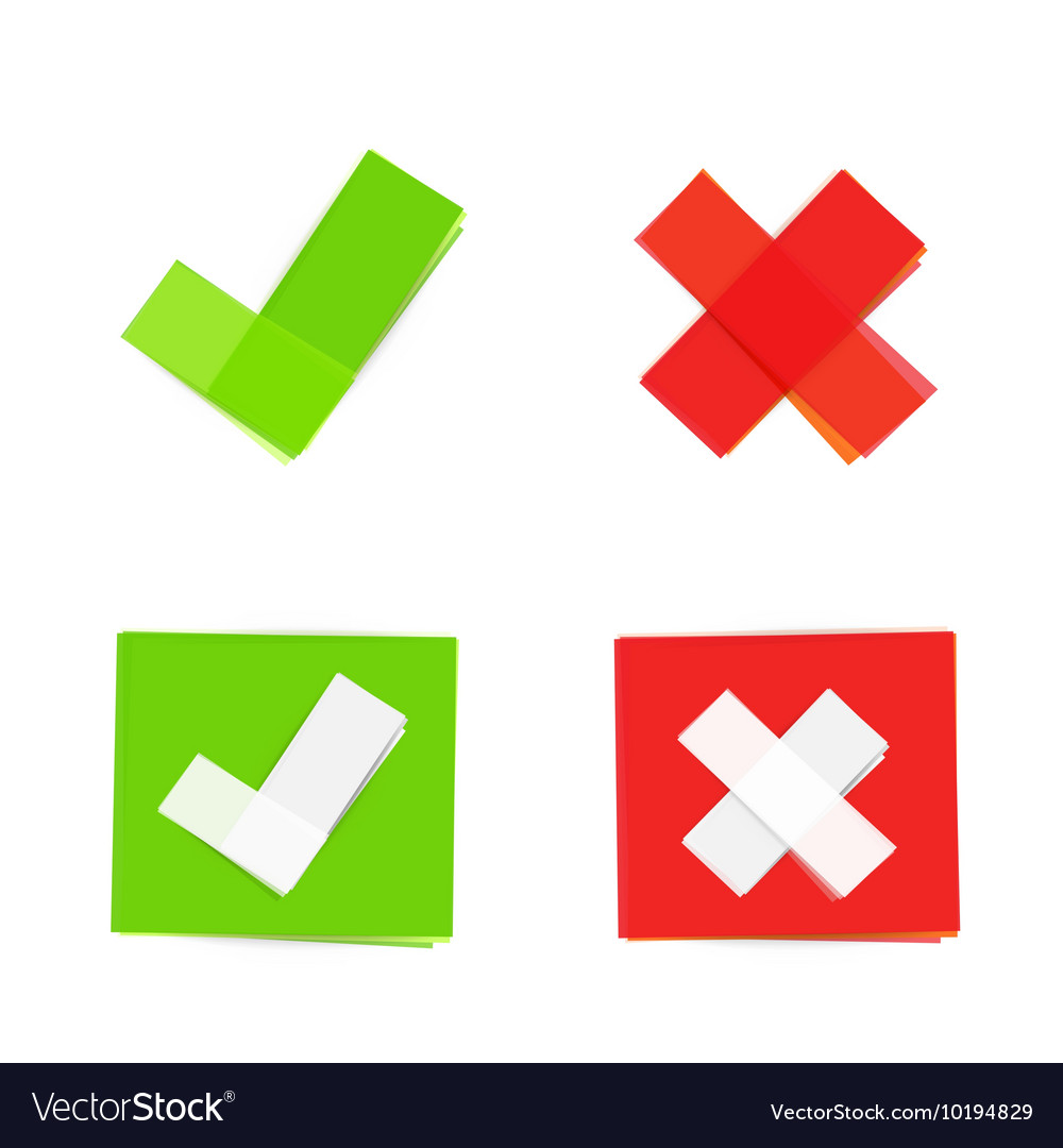 Green and red check mark icons vector