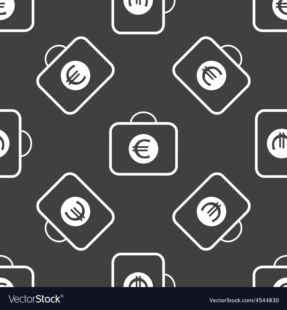 Bag with euros pattern vector
