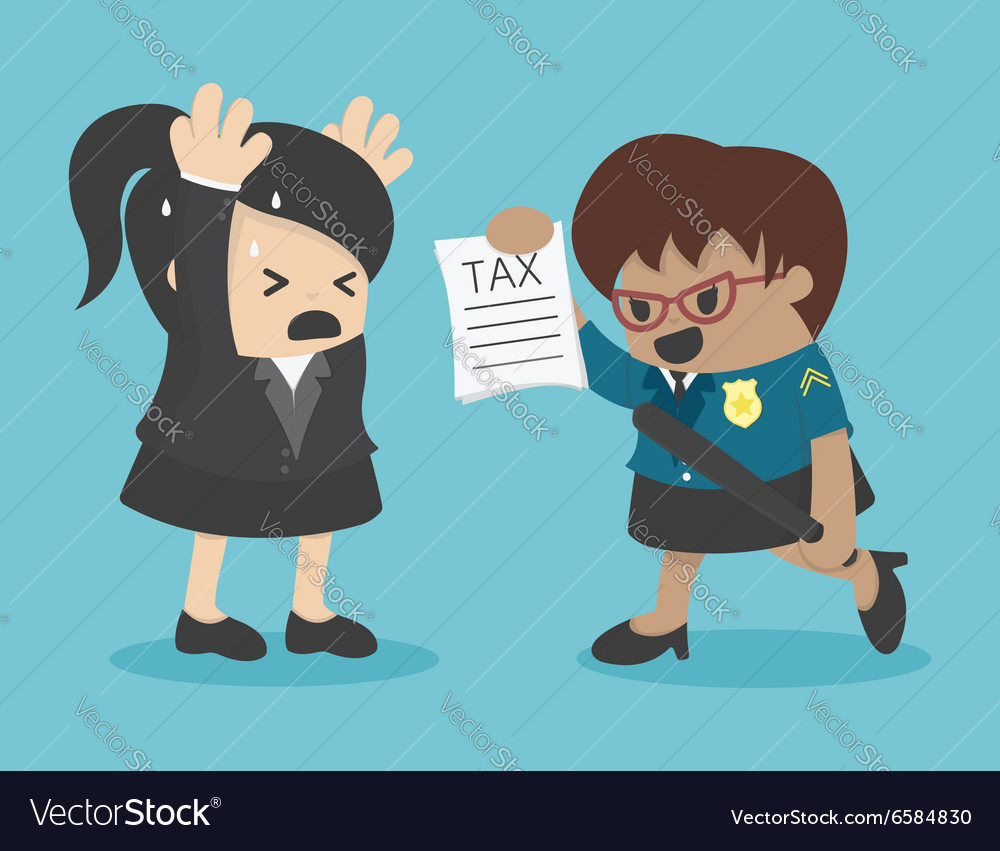 Business woman evasion tax vector