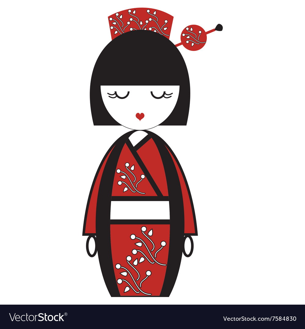 Oriental japanese geisha doll with kimono with vector