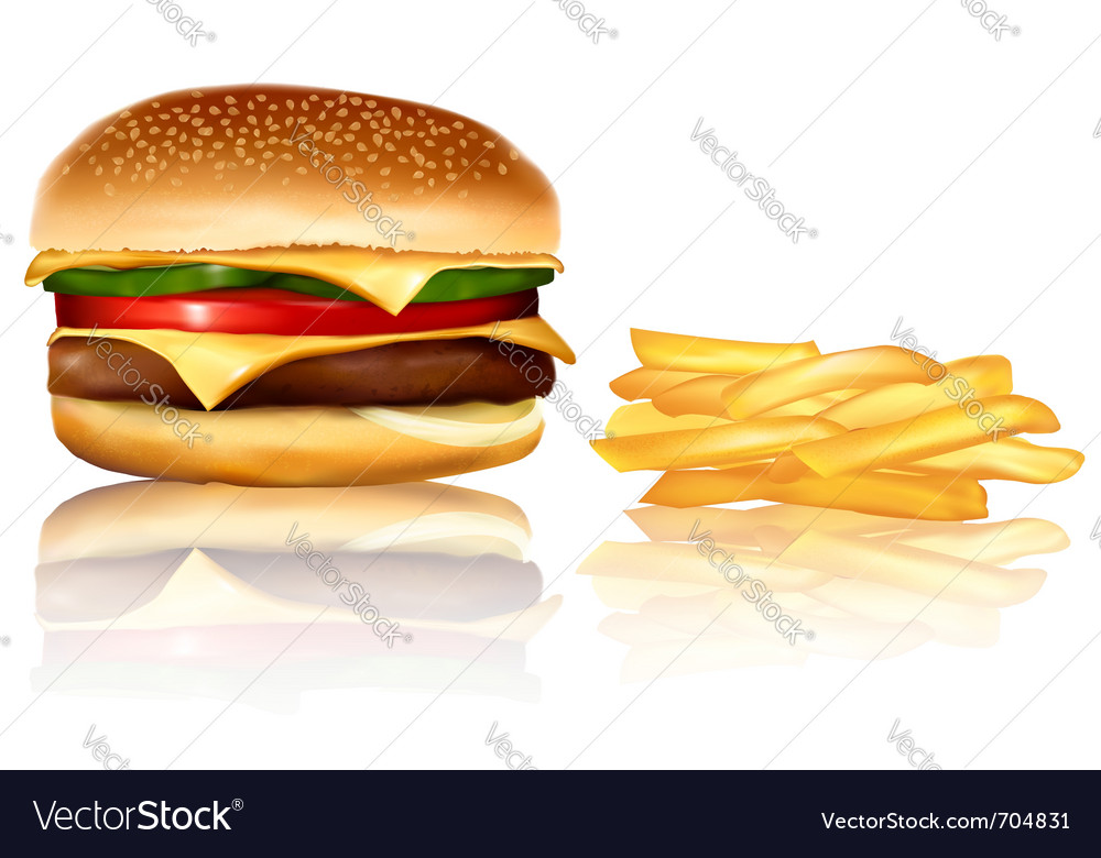 Burger and chips vector