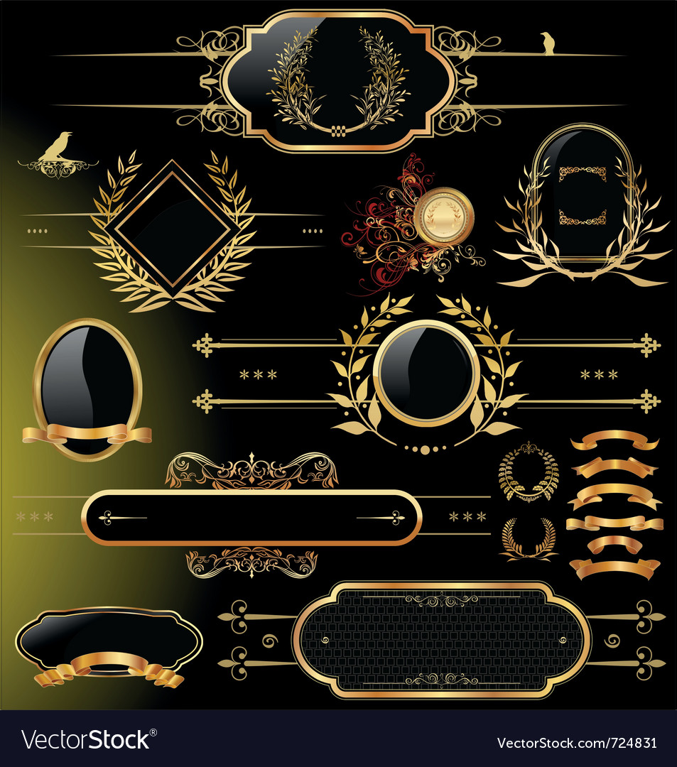 Set of black gold  framed labels vector