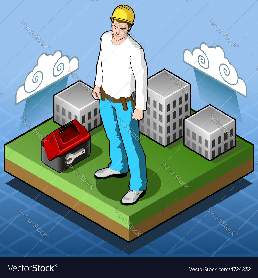 Isometric infographic hard hat  home builder  vector
