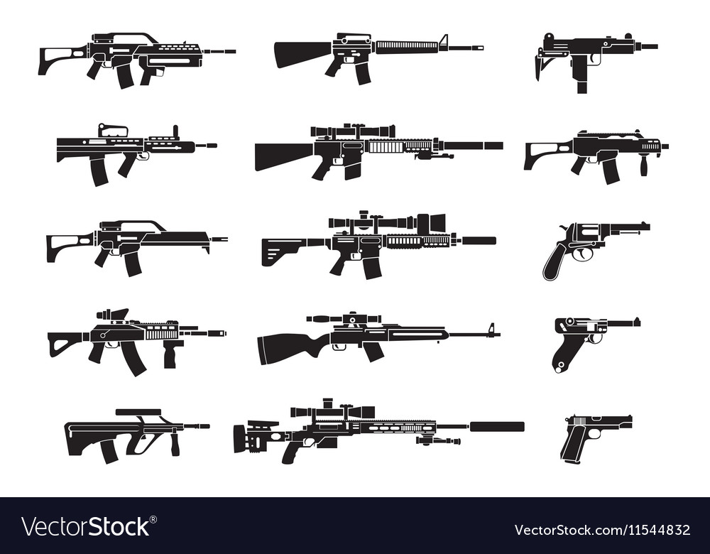 Machine gun and handgun rifle pistol icons vector