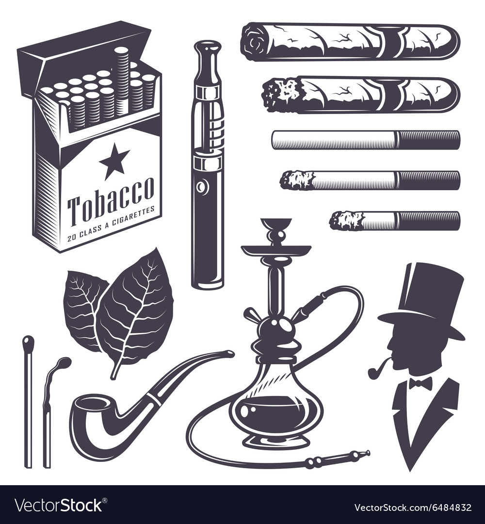 Set of vintage smoking tobacco elements vector